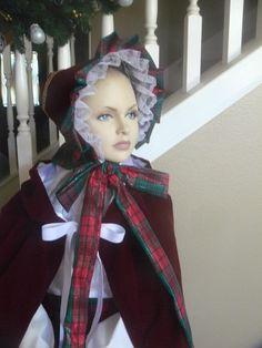 Victorian Style Hats Custom Made Dickens Christmas Carol Little Women Civil War Bonnet Girls Ladies Hat $65.00 AT vintagedancer.com
