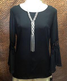Zac & Rachel  - Black chiffon blouse with crochet insets and ruffle sleeves - $46