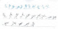 "Motion analysis for Dash running on water in ""The Incredibles"". The sequence in blue is from my imagination, the sequence in black is based on reference I filmed of a fellow animator running in socks on a slippery wood floor. I ended up using elements of this in the final animation."