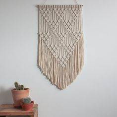 Macrame Wall Hanging TRIANGLES 100% Cotton by ButtermilkDesignCo