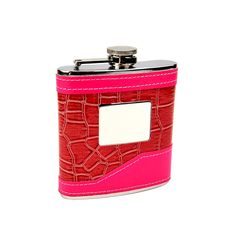 @ShopAndThinkBig.com - This high quality 2-tone pink hip flask is perfect for the ladies! The engraving plate is great for rotary or laser engraving companies looking for a high margin product to market to buyers. The food grade stainless steel provides a safe container for drinking, the welded joints assure the flask will not leak and the 2-tone pink material around the flask is rich with color! The engraving plat……