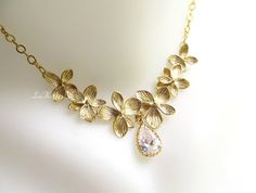 Gold Flower Necklace Floral Clear Rhinestone Gold by LoveHerSo