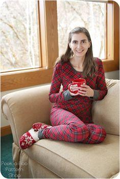 Beauty Sleep Pajamas - Peek-a-Boo Pattern Shop Pajamas Women, Pdf Sewing Patterns, Peek A Boos, Cuff Sleeves, Pjs, Snug, Elastic Waist, Sleeping Beauty, Sewing Projects