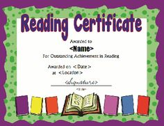 Printable reading award certificate in PDF and DOC formats. Free downloads at http://mycertificatetemplates.com/download/reading-certificate/