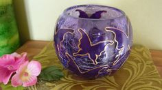 Hand Painted Glass Butterflies Purple Crackled di GlassByNikki