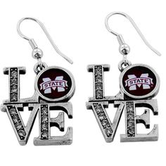 """$5.50 Crystal Accented Mississippi State University """"LOVE"""" Earrings"""