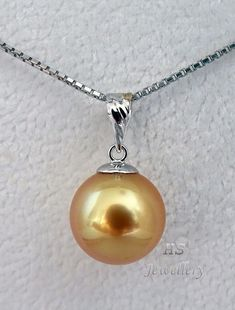 HS #Golden South Sea Cultured #Pearl 11.55mm #Pendant #18K White #Gold Top #Jewelry #Anniversary #Christmas #Bridal