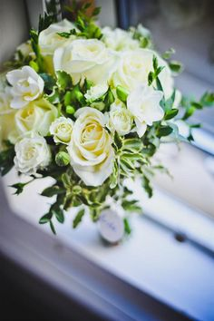 white wedding flowers bouquet, image by Elly Mac Photos http://ellymacphotos.com/