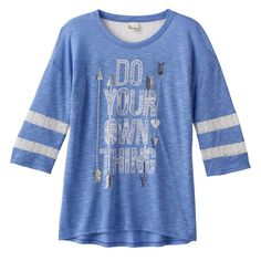 Girls 7-16 & Plus Size SO® Lace Yoke Varsity Tee, Size: 14 1/2, Blue (Navy)