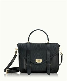 Leather flap front satchel bag with metal fold-over closure and leather pull-tab straps and exterior back slip pocket. Dual carrying options include top handle and detachable/adjustable shoulder strap. Large interior pocket at front body, beneath flap.