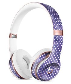 White Polka Dots over Purple Watercolor V2 Full-Body Skin Kit for the Beats by Dre Solo 3 Wireless Headphones