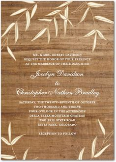 Willowy Wood Rustic Wedding Invitations $1.79  #WeddingInvitations #Weddings
