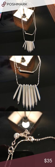 Silver Stella & Dot convertible necklace This necklace can be worn together or each piece separately.  Very versatile! EUC Stella & Dot Jewelry Necklaces