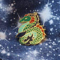 Gold And Green Sea Serpent Dragon Enamel Pin by EPinAndTonic on Etsy