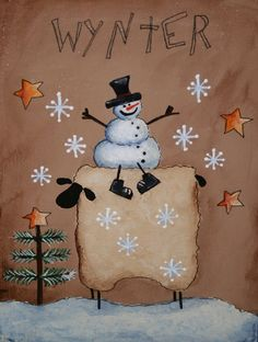 Items similar to Primitive Snowman and Sheep painting - Hand Painted on canvas panel - OFG on Etsy Snowman Crafts, Christmas Projects, Holiday Crafts, Wood Snowman, Snowman Wreath, Sheep Paintings, Country Paintings, Primitive Snowmen, Primitive Crafts