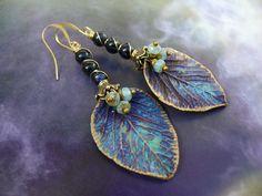Hydrangea Girl -  wearable art polymer clay blue gold bronze goldstone long rustic leaf earrings. by PreciousViolet on Etsy