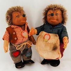 Vintage 1950's Steiff Original Micki and Mecki Hedgehog Stuffed Animal Dolls from Antik Avenue on Ruby Lane
