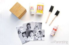 DIY photo cube materials: What you'll need: wooden cube Mod Podge photo transfer medium Matte finish Mod Podge Foam paint brushes Craft paint square photocopies Washcloth Diy Mother's Day Crafts, Mother's Day Diy, Holiday Crafts, Home Crafts, Kids Fathers Day Crafts, Crafts For Kids, Photo Cubes, Mother's Day Photos, Daddy Gifts
