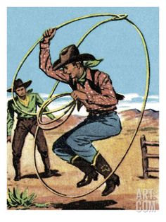 Cowboy Jumping a Lasso Print by Pop Ink - CSA Images at Art.com