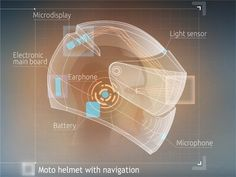 Motorbike helmet with built-in navigation system and voice controlled interface