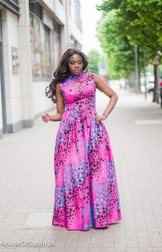 Pink Maxi Dress The dress has a side zip at the back and 2 side pockets, and is approx 120 Best African Dress Designs, Best African Dresses, Latest African Styles, African Print Dresses, African Fashion Dresses, African Attire, African Wear, Maxi Dress Summer, Ankara Maxi Dress