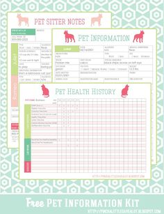 Dog Training These Pet Printables will help keep track of vaccinations, allergies, medications, vet info and other important information for your sitter. Yorkshire Terrier, Planners, Pet Sitting Business, Dog Walking Business, Westies, Home Management Binder, Binder Organization, Printable Organization, Organizing Life