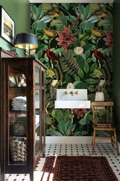 Dark botanical removable wallpaper, Colors of nature wall mural, Nature, Wild wallpapers, Colorful wall art ALL WALL HEIGHT