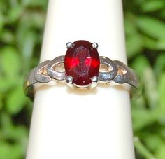 Intense True Red Garnet Ring Size 7 by WindstoneDesigns on Etsy, $38.95