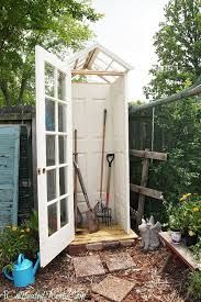 "small garden sheds - Google Search use cut pvc pipe at 3"" cuts to store takes and shovels straight up. No fuss no muss no trips"