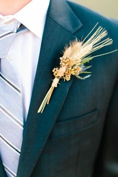 Wheat boutonniere | Heather Rowland