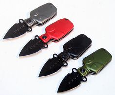 "Overall length of the Knifes are 4.5""  	Black Blade length of the knifes are 2""  	Mini Folding Knife's  	Belt Clips Included  	Heavy Duty Steel  	Military Canteen   	  Brand New  	Good Quality  	12 Piece Set   