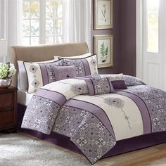 Madison Park Donna 7 Piece Comforter Set - Purple - King Madison Park http://www.amazon.com/dp/B00LFFYDWK/ref=cm_sw_r_pi_dp_IyTfvb0JP0MH4