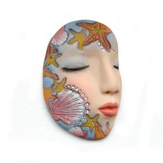 Starfish Seashells Sleepy Art Doll Face Cab Sea Dream Goddess Cabochon