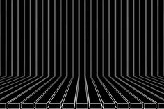 Abstract Black and White Geometric Pattern with Perspective. Striped Structural Texture