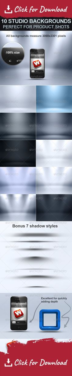 backdrop, background, blue, dark, grey, high resolution, light, modern, photo studio, photorealistic, presentation, product, product showcase, shadows, showcase, studio, studio set up, white 10 Studio Backgrounds, the perfect backdrop to showcase your product shots. High resolution (3068×2301 pixels) backdrops for presenting your work like products, images, posters, and can even be used as backgrounds for webpages.   Also includes a  BONUS  of 7 shadows to speed up your workflow. All ...