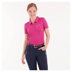 These gorgeous BR Equestrian Polo shirts just arrived! Made of breathable stretch fabric and have a beautiful slim fit! Only $74.99, available in fuchsia and navy!! ❤️❤️The BR Shearwater breech pictured is also available in store!! #shopping #equestrian #brequestrianequipment #polo