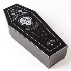 Our Dia de los Muertos Coffin Wine Box makes for the perfect hostess gift for your next Halloween party.