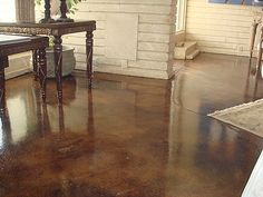 distressed stained concrete.  Can't wait to do this is a house one day.
