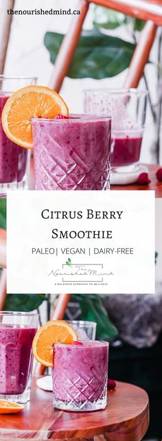 This citrus berry smoothie is bright + refreshing. Perfect for brunches and lazy weekends! Vegan Smoothie Recipes, Vegetarian Recipes Easy, Dairy Free Recipes, Real Food Recipes, Healthy Recipes, Gluten Free, Healthy Eating Tips, Clean Eating Snacks, Healthy Drinks