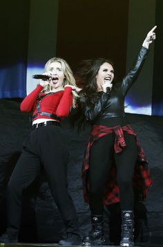 Little Mix:Jesy and Perrie. I don't know which one I'll probably be but I bet I would be Jesy....