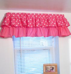 Everyone loves Mickey Mouse! Also available in pink, orange and green. A Beautiful Handmade Ruffled Valance. This window valance offers so cute style and can fit a window up to 42 in width. Dimensions: Width 42 Length - 14 included 2 rod pocket. If you will need a different size