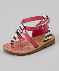 Another great find on #zulily! Fuchsia & Zebra Sandal by Baby Deer #zulilyfinds