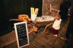 Toffee Apple Cart, Sparklers and Bonfire Sign | Autumn Wedding | Justin Alexander bridal gown | Lyde Court | Coral Rose Bouquet | Naked Wedding Cake | Images by Lucy Greenhill Photography | http://www.rockmywedding.co.uk/gemma-alfie/