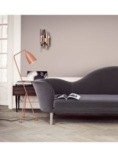 Shop For Gubi Grashoppa Floor Lamp Online, ‪Australia‬. Select From Our Huge, Scandinavian, Modern, Gubi Range. Murs Taupe, Grasshopper Lamp, Charcoal Sofa, Taupe Walls, Neutral Walls, Brown Walls, Grey Flooring, Lamp Design, Living Room Ideas