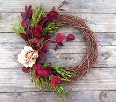 Rustic Roses Burgundy & Green Fall Wreath. By HorseShoeFever.  By HorseShoeFever. Western Home Decor. Winter, Holiday, Wedding, Rustic, Baby, Birthday, Country, Western, Cowgirl, Decorations, Christmas, Gift, Ranch, Cabin