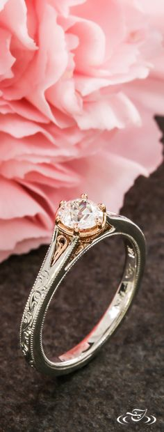 Scroll Engraved Rose Gold and Platinum Engagement Ring. Green Lake Jewelry 109921