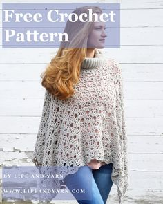 The Aria Poncho, a collared crochet poncho, is the perfect easy crochet pattern! This lacy crochet poncho looks intricate, but I promise the row repeats are #simplestitches and once you get a few rows down you'll be hooked! Comes in child and adult sizes!  #freecrochetpattern Crochet Poncho Patterns, Crochet Shawls And Wraps, Crochet Scarves, Crochet Clothes, Shawl Patterns, Crochet Sweaters, Crochet Dresses, Knitted Shawls, Free Crochet