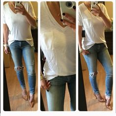 Most Fave PERFECT white top The perfect white pocket top. Semi sheer back. Can be casual or dressy. Perfect  alone or under a blazer. Super super cute. Med 3 Tops