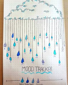 Mood tracker de abril. April mood tracker. ☁🌧☁🌧 #bulletjournal #bulletjournalsetup #moodtracker #april Bullet Journal Set Up, My Journal, Journal Ideas, Mood Tracker, April Showers, Drawing Ideas, Wind Chimes, Typography, Drawings
