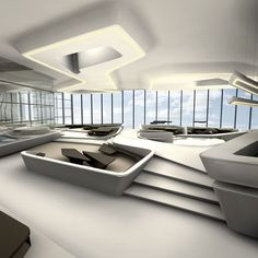 Zaha hadid is one of the famous architects who has created the marvellous architectures in during her time period. Here are some of the best zaha hadid interior designs for you. Zaha Hadid Interior, Zaha Hadid Architecture, Minimalist Architecture, Interior Architecture, Arquitetos Zaha Hadid, Architectes Zaha Hadid, Zaha Hadid Design, Futuristic Interior, Interior Minimalista